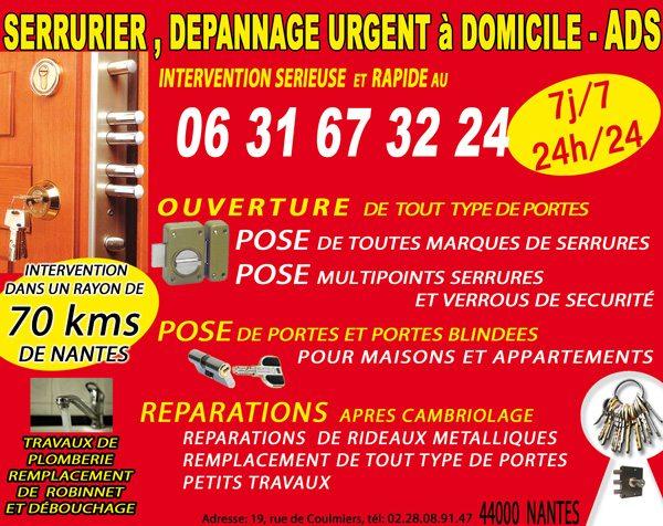 ads serrurerie 44 nantes. Black Bedroom Furniture Sets. Home Design Ideas